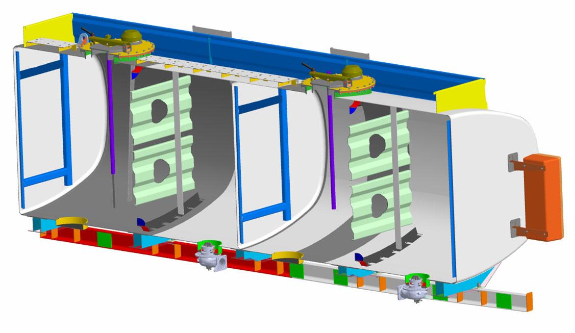 Структура в разрезе цистерны автотопливозаправщиков